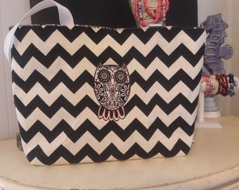 Black Cheveron Tote Bag with Owl
