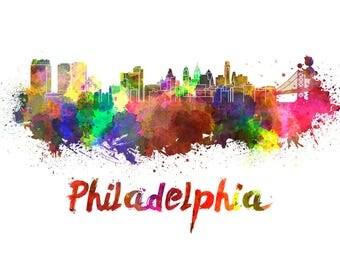 Philadelphia Skyline Watercolor, Philly Art Print, Philadelphia Skyline, Philadelphia Wall Art, Philadelphia print, Philly watercolor