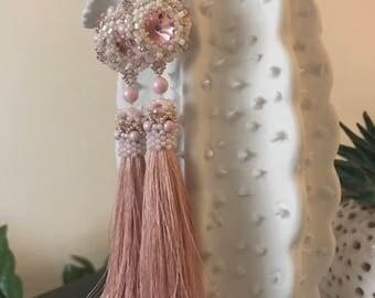 Tassel pink beaded peyote embroidered earrings Wife statement gift Long silk pendant dangle boho earrings Gift for her