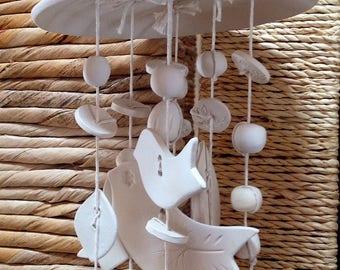 Wind Chime, White ceramic, Garden art, Home decor, Gift