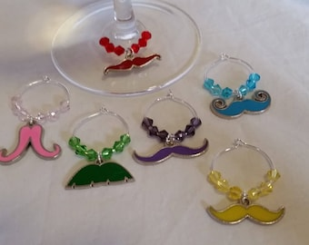 Wine Glass Charms, Wine Glass Tags, Wine Charms, Wine Glass Markers, Glass Charms, Set of 6, Mustaches, Fun