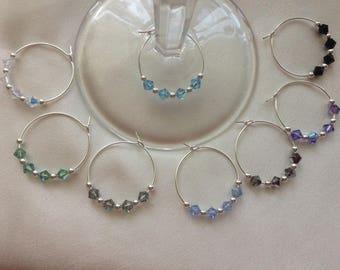 Multi Color Silver Tone Wine Charm Handmade with Swarovski® Crystal Set of 8