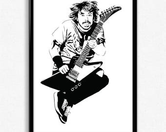 Dave Grohl Art Print - Super Detailed Giclee Print of Foo Fighters Frontman Dave Grohl - Multiple Sizes and Colors