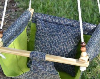 Crocodile Blue and Green Indoor/Outdoor Children's Hammock Swing & Pillow