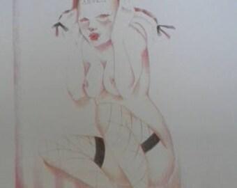 Angel drawing Prints original Art Doll Pastel Pink White high heels black bows