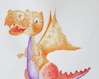 Dray Orange the Dragon, watercolour painting
