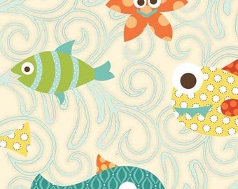 Henry Glass & Co Here Fishy Fishy by Heather Mulder Peterson of Anka's Treasures RN110614-6101-1    -- 1/2 yard increments