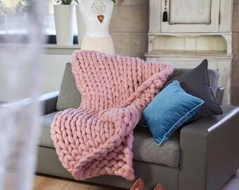 Chunky Knit Throw Chunky Knit Blanket Big 140x180 100% Merino Polish Handmade Original