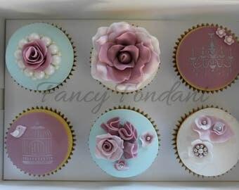 12 Edible Fondant Elegant Wedding, Engagement, Party, Vintage Cupcake Toppers