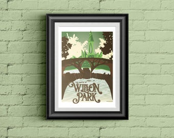 "Fayetteville AR Wilson Park Castle 18""x24"" illustrated poster"