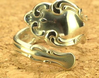 Antique Spoon Ring - 1969 Modern Baroque Silverware Spoon Ring