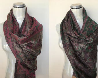 Reversible 60/40% Mulberry Silk and Cashmere/Alpaca Pashmina Shawl Scarf Wrap Stole