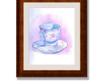Tea cup watercolor, Tea cup print, original Watercolor print, Kitchen wall art, Kitchen Watercolor Art,  kitchen art print, english tea cup