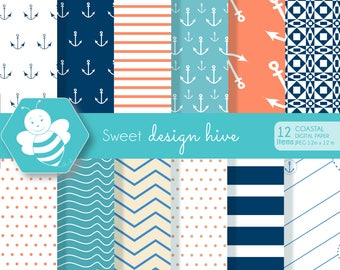coastal digital paper, scrapbook papers, background, anchors, nautical, commercial use, DP4055