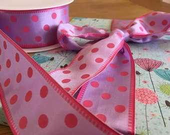 Ribbon, wired, lilac and pink spots, 40mm wide, by 1m lenth