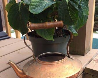 Vintage Copper Kettle Teapot. Wood Handle. Mid century. Copper Spout.