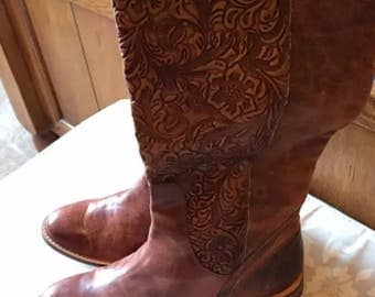Lucchese Spirit tooled leather riding boots