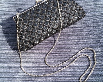 Evening Bag, Black Beaded and Sequined with removable chain should strap