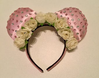 Floral crown pink Minnie Mouse ears.