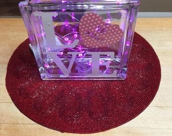 Love Glass Block
