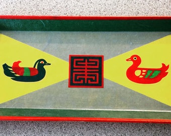 Vintage Alcohol Proof Vanity Tray Red Duck Design Mid Century
