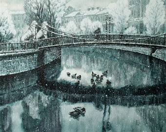 "First snow Art Original Ink Painting by Zuev Aleksei, 16x20"" painting, ink landscape, duck art, Blue Black Indigo"