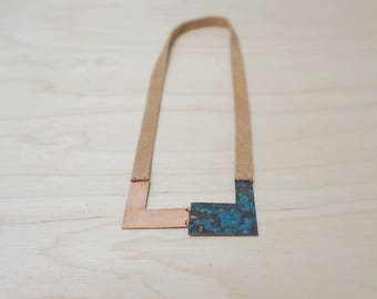 Handmade necklace (L03) in oxidised copper and leather