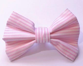 Preppy Pink & White Stripe Bow Tie