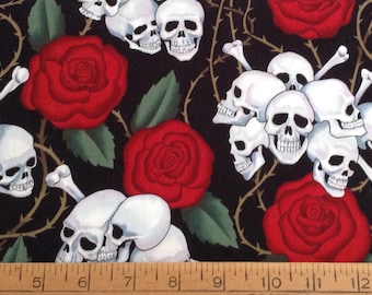 Skulls and roses cotton fabric by the yard