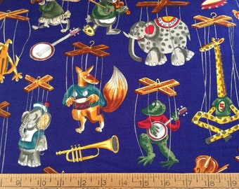Animal puppets cotton fabric by the yard