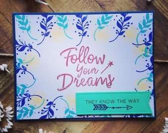 Cute Handmade Graduation Card, Follow Your Dreams Card, Pretty Graduation Card, Whimsical Graduation Card, Cards for graduates, hand crafted