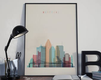 Montreal Art Montreal Watercolor Montreal Multicolor Montreal Wall Art Montreal Wall Decor Montreal Home Decor Montreal Skyline Unframed