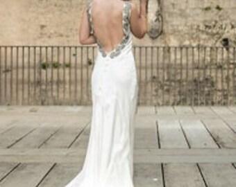 Silk designer vintage look wedding dress