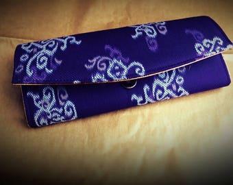 Purple Clutch Bag in Balinese Ikkat silk