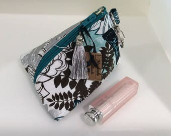 Small Make up Bag, Small Cosmetic Bag, Triangle Shape with Attachment Clip, Gift for Her, Coin Purse. Teal, Silver and White Floral Print.
