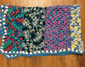 SALE! Vintage Blue Bordered Multicolored Afghan, Rainbow Crocheted Throw Blanket, Lap Afghan, Baby Blanket, Granny Squares