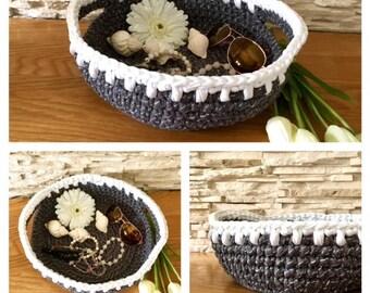 Grey and White Storage Basket Crochet