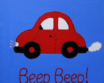 Handpainted 'Beep Beep' Bubble Car Canvas