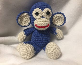 Funky Crochet Sock Monkey; Handmade by KCCrochetGuy