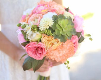 Silk Bride Bouquet Pink Coral Peach Roses Peonies Wildflowers Succulents Natural Bouquet Shabby Chic Vintage Inspired Rustic Wedding