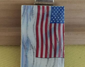 American Flag Stamp Pendant