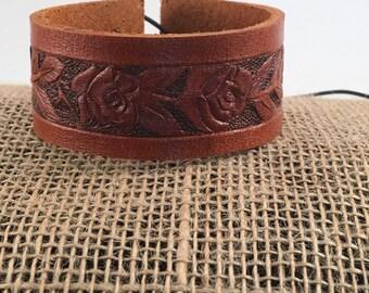 Genuine Leather Floral Bracelet