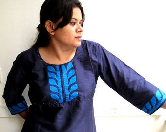 Cotsilk Nave Blue kurta with applique
