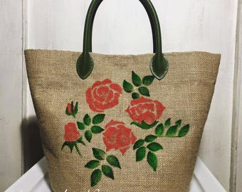 Basket bag 100% hand-painted