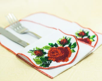 Bead-embroidered cutlery wraps envelopes wallets rose flower hand embroidery table decoration