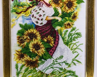 Beaded picture Girl with Sunflowers bouquet bunch bead-embroidered decor gift beadwork embroidery bead art interior design decoration