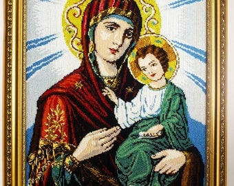 Beaded icon Mother of God Holy Virgin Maria Orthodox traditional bead-embroidered picture gift present beadwork embroidery beads art