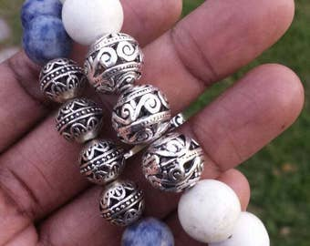White or blue beads with silver accent beads