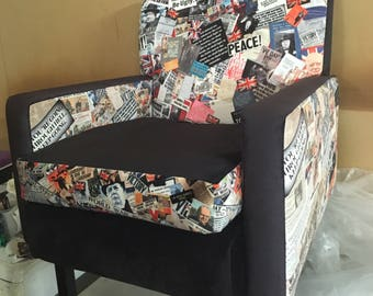 UnionJack Armchair / British theme chair / vintage armchair / reupholsted / newspaper print