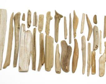 Bulk Driftwood 30 pcs, Flat Driftwood for Crafts, Old Driftwood Art Small Pieces, Small Driftwood Pieces, Art Supplies, Sea Beach Finds #24